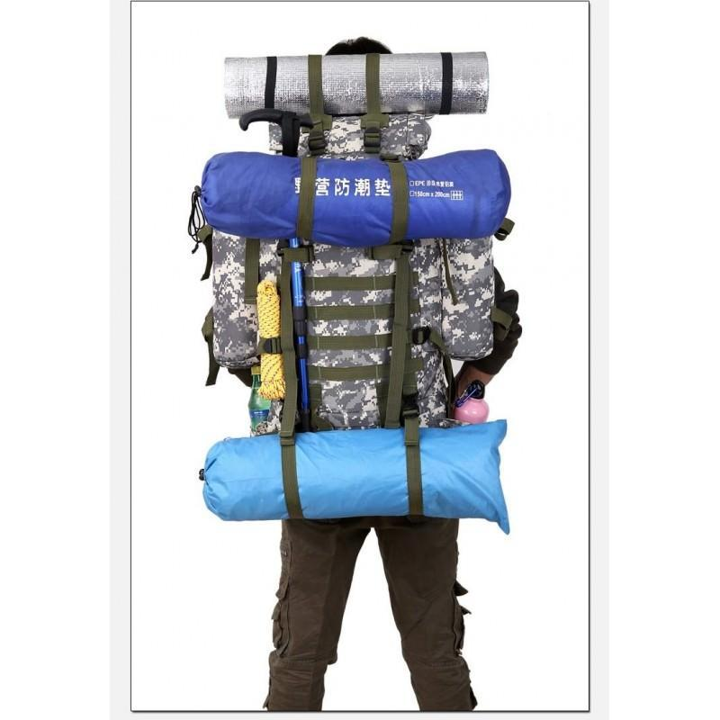 Комплект: Камуфляжный туристический рюкзак Jack Wolfskin 80 л с системой M.O.L.L.E + Портативное солнечное зарядное 7 Вт 194498