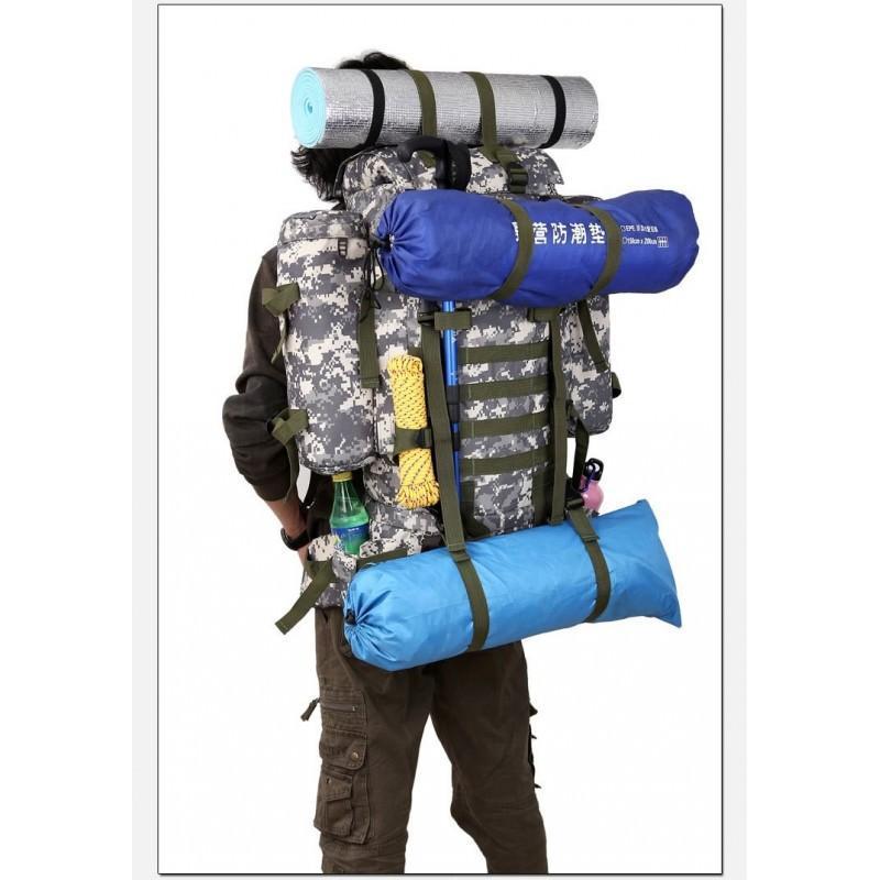 Комплект: Камуфляжный туристический рюкзак Jack Wolfskin 80 л с системой M.O.L.L.E + Портативное солнечное зарядное 7 Вт 194505