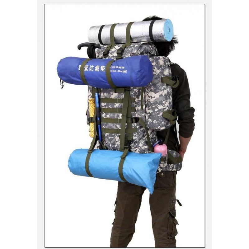 Комплект: Камуфляжный туристический рюкзак Jack Wolfskin 80 л с системой M.O.L.L.E + Портативное солнечное зарядное 7 Вт 194506
