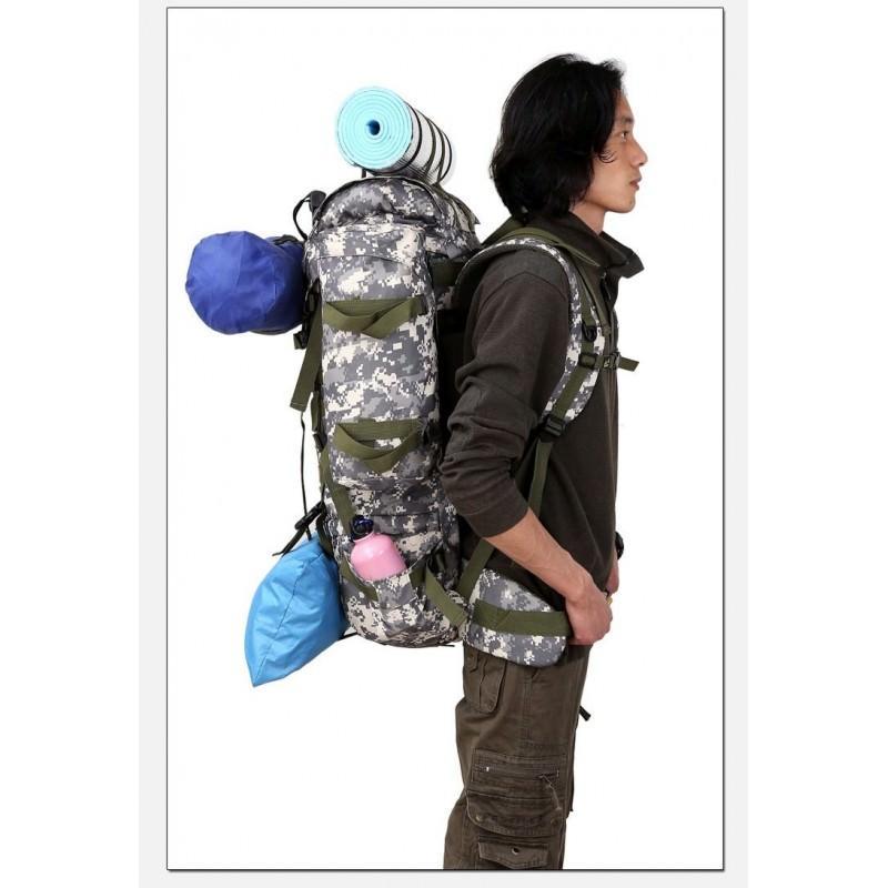 Комплект: Камуфляжный туристический рюкзак Jack Wolfskin 80 л с системой M.O.L.L.E + Портативное солнечное зарядное 7 Вт 194507