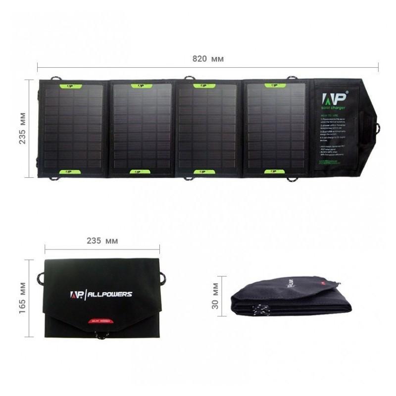 Портативное солнечное зарядное Allpowers 16 Вт: 4 панели, 2 USB-порта, 5В/ 2А 194695