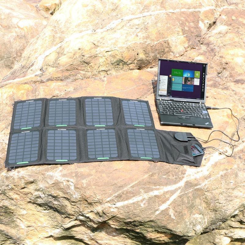 Портативное солнечное зарядное Allpowers для ноутбука 18В, 28Вт: 8 панелей, 2 разъема для зарядки