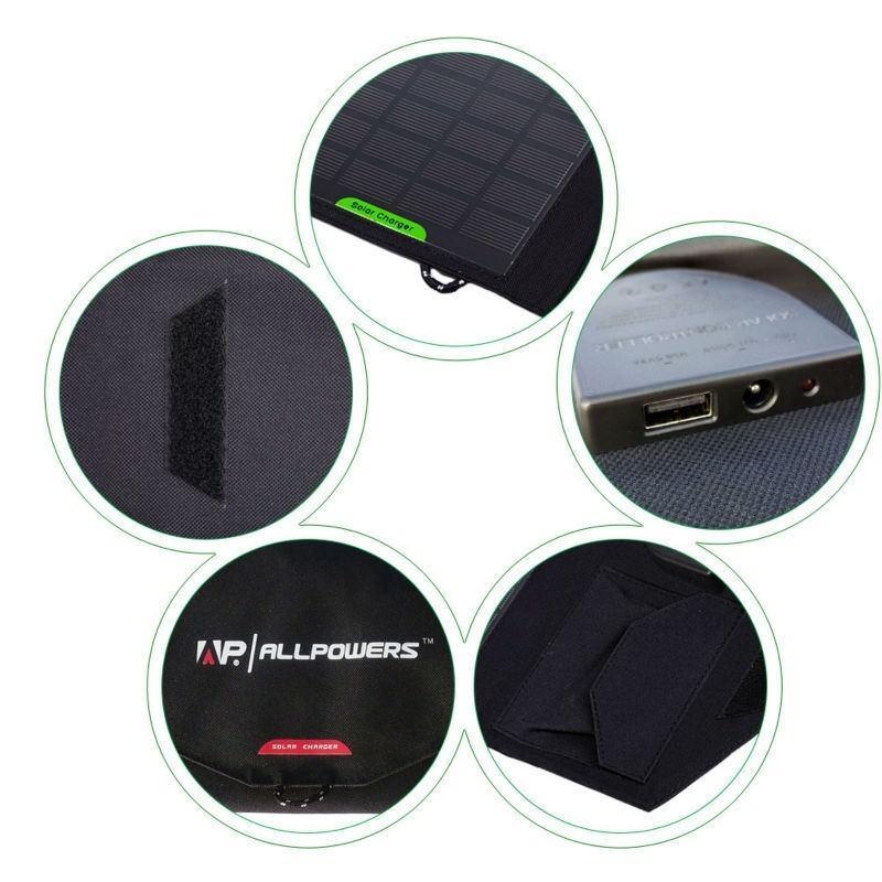 Портативное солнечное зарядное Allpowers для ноутбука 18В, 28Вт: 8 панелей, 2 разъема для зарядки 194720