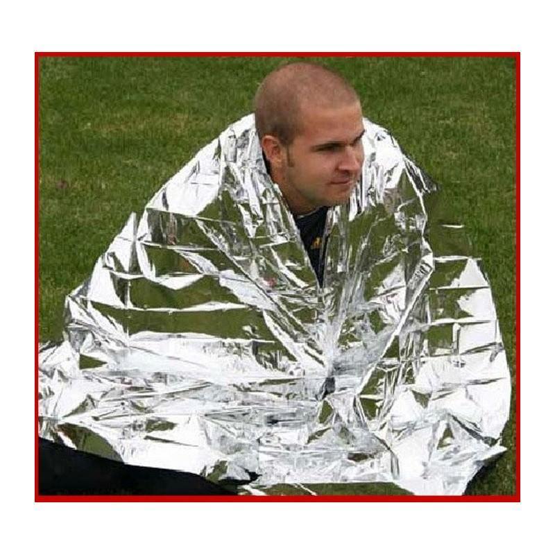 Комплект из двух алюминизированных одеял для туризма, кемпинга, чрезвычайных ситуаций: 160 x 210 см + 130 х 120 см 194740