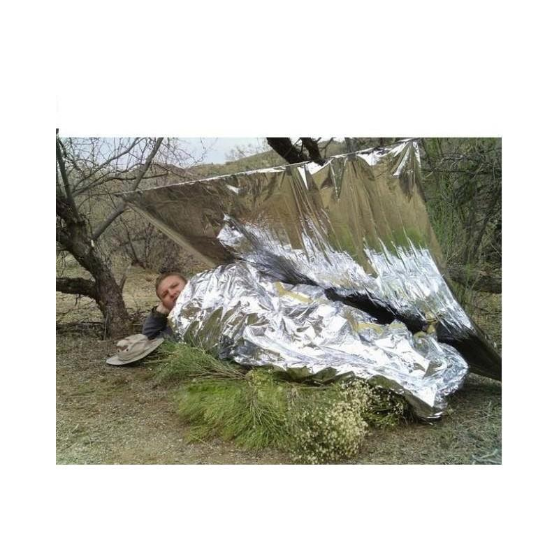 Комплект из двух алюминизированных одеял для туризма, кемпинга, чрезвычайных ситуаций: 160 x 210 см + 130 х 120 см