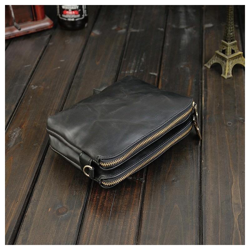 Мужская кожаная сумка-кошель O`Honor Univers - 3 способа крепления, 2 отделения - Черный