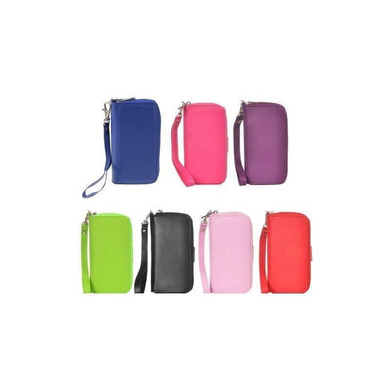 Кожаный чехол-кошелек для iPhone 5 и 5S на молнии с ремешком G-1179B