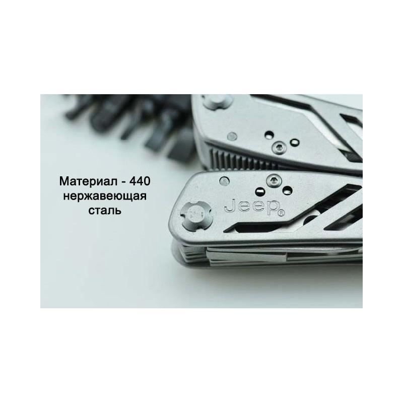 Мультитул JEEP0513 из нержавеющей стали: 9 инструментов в 1 + набор бит + чехол 195248