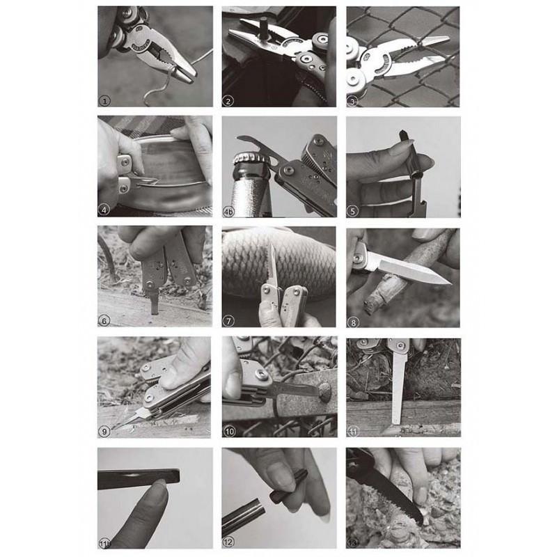 Мультитул JEEP0513 из нержавеющей стали: 9 инструментов в 1 + набор бит + чехол 195251