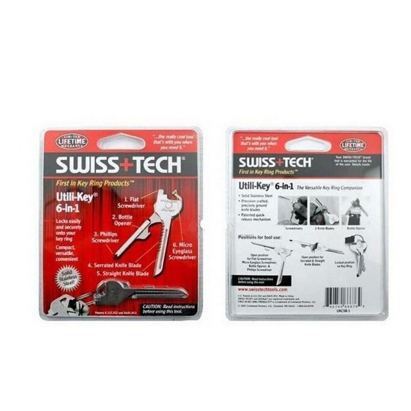 Многофункциональный брелок Swiss+Tech Utili-Key 6-in-1 – 3 отвертки, 2 ножа, 1 открывалка 195293