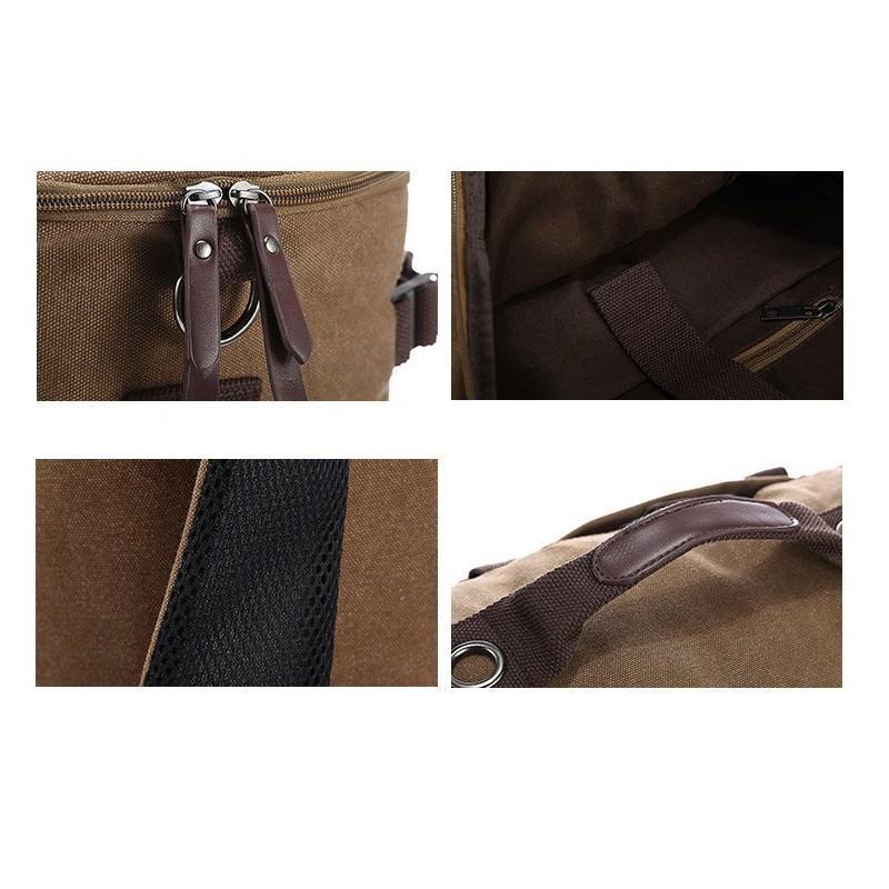 14842 - Дорожная сумка-рюкзак Dezerto Tubus XL: холщовая ткань, ручки-трансформеры, 47 л, объемный внешний карман