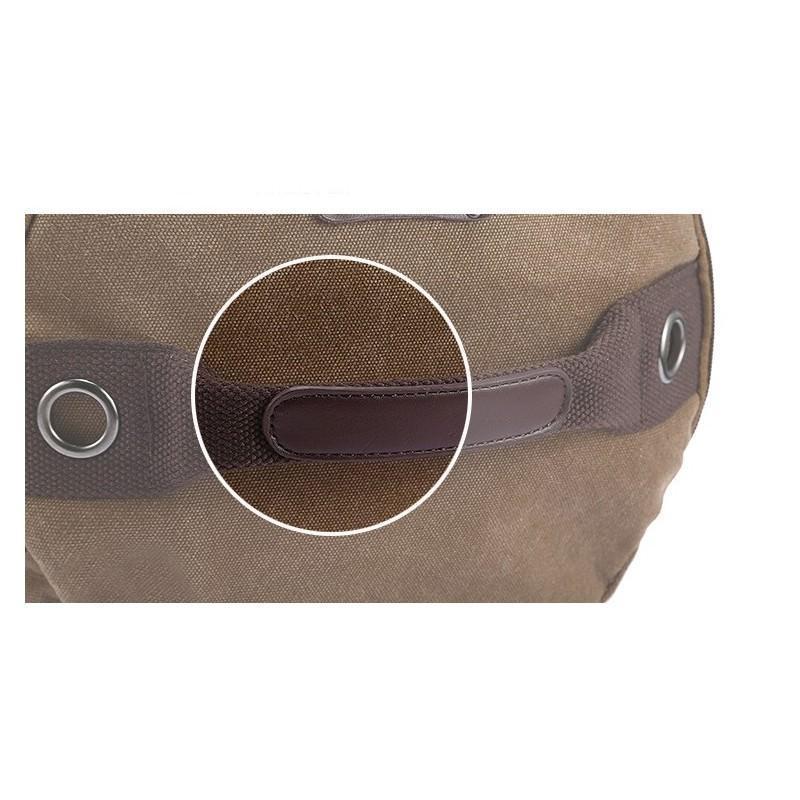14843 - Дорожная сумка-рюкзак Dezerto Tubus XL: холщовая ткань, ручки-трансформеры, 47 л, объемный внешний карман