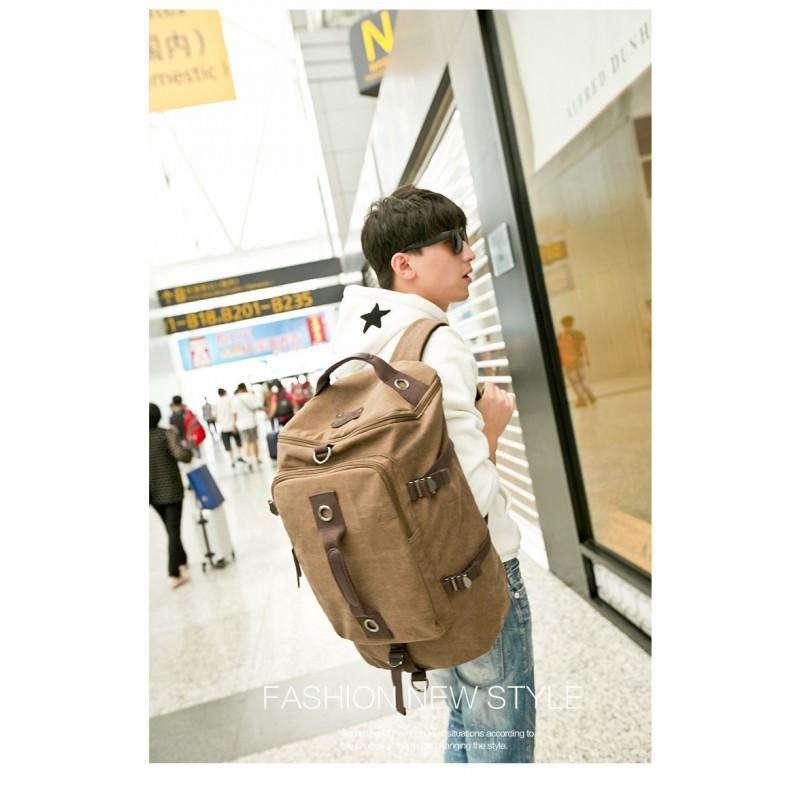 14845 - Дорожная сумка-рюкзак Dezerto Tubus XL: холщовая ткань, ручки-трансформеры, 47 л, объемный внешний карман