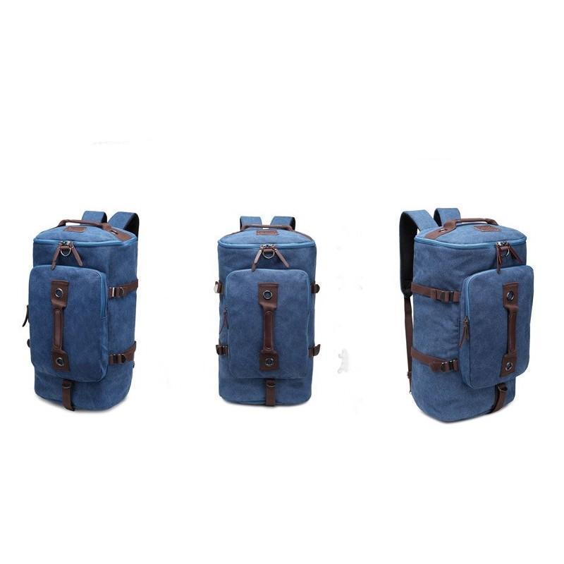 14846 - Дорожная сумка-рюкзак Dezerto Tubus XL: холщовая ткань, ручки-трансформеры, 47 л, объемный внешний карман