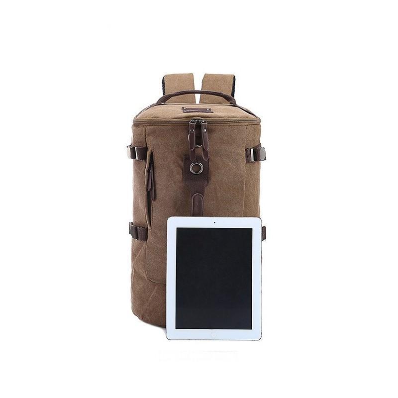 14849 - Дорожная сумка-рюкзак Dezerto Tubus XL: холщовая ткань, ручки-трансформеры, 47 л, объемный внешний карман
