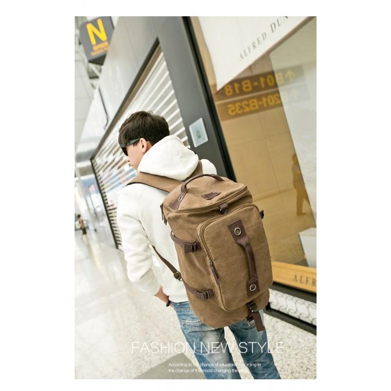 14850 - Дорожная сумка-рюкзак Dezerto Tubus XL: холщовая ткань, ручки-трансформеры, 47 л, объемный внешний карман