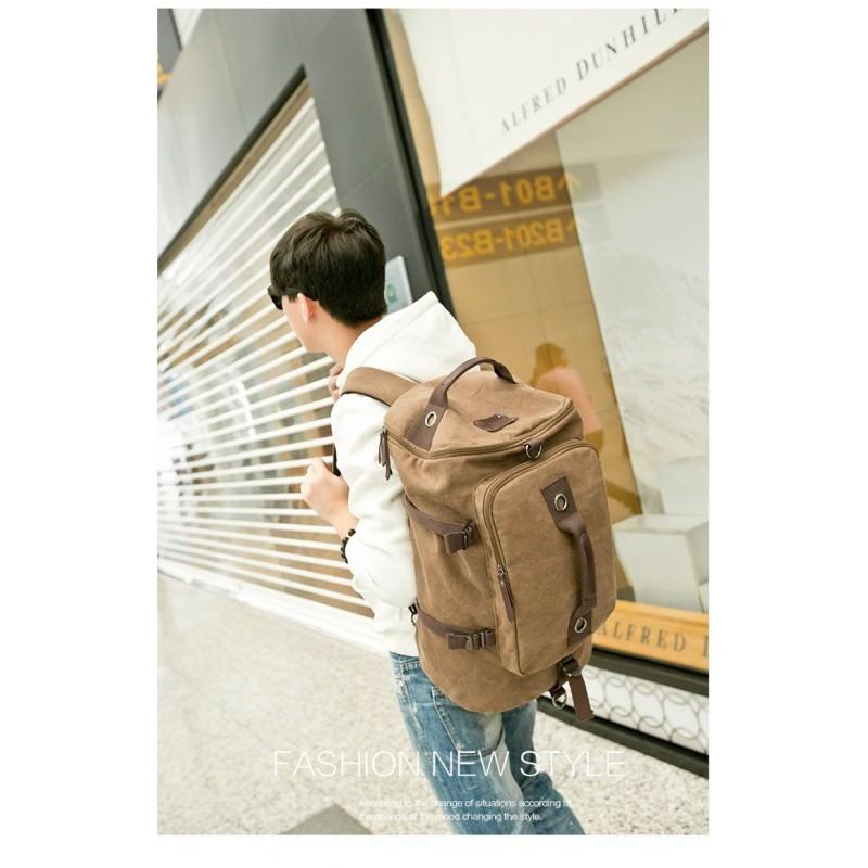14851 - Дорожная сумка-рюкзак Dezerto Tubus XL: холщовая ткань, ручки-трансформеры, 47 л, объемный внешний карман
