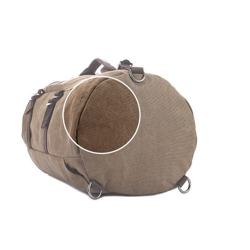 14852 - Дорожная сумка-рюкзак Dezerto Tubus XL: холщовая ткань, ручки-трансформеры, 47 л, объемный внешний карман