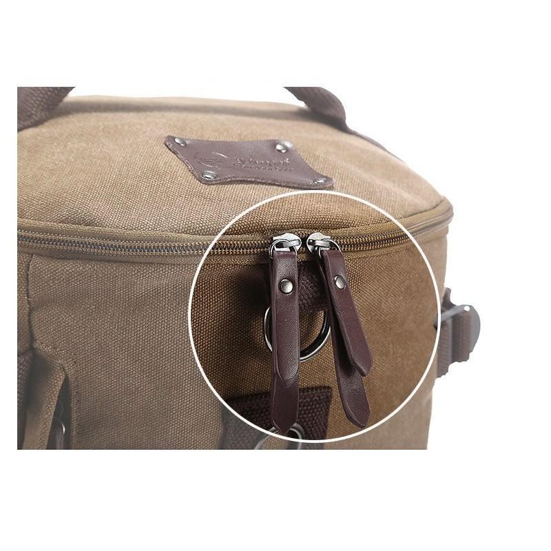 14856 - Дорожная сумка-рюкзак Dezerto Tubus XL: холщовая ткань, ручки-трансформеры, 47 л, объемный внешний карман