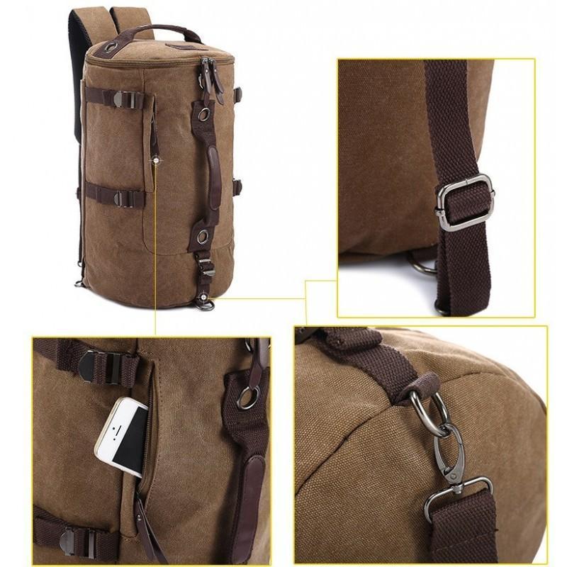 14858 - Дорожная сумка-рюкзак Dezerto Tubus XL: холщовая ткань, ручки-трансформеры, 47 л, объемный внешний карман