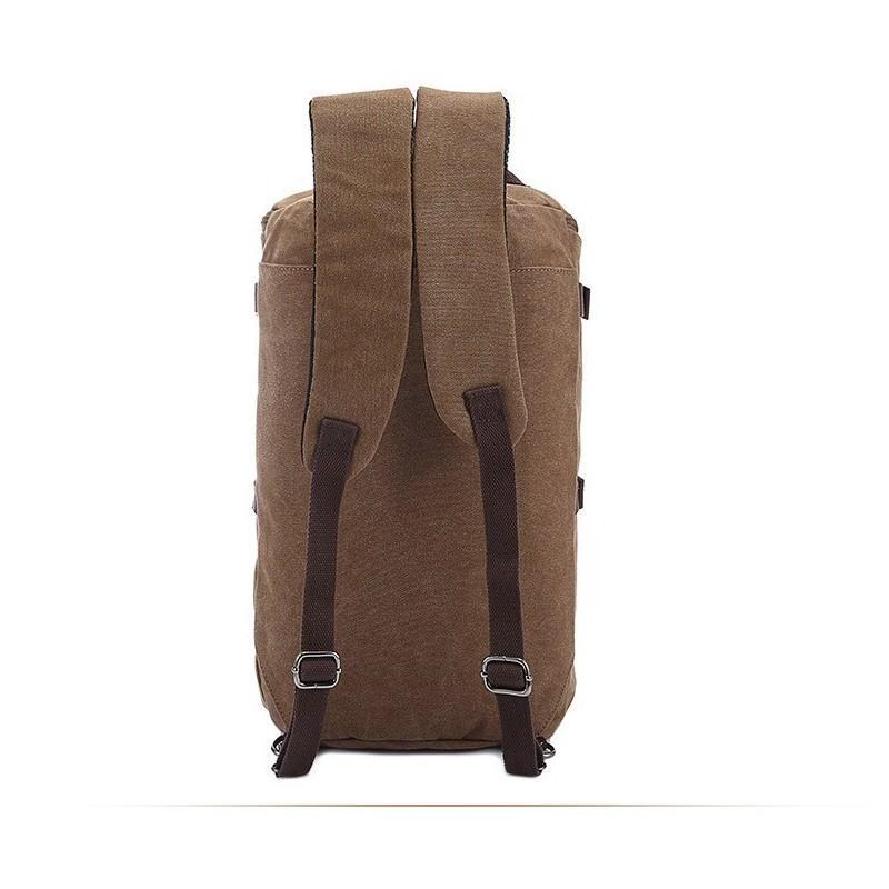 14860 - Дорожная сумка-рюкзак Dezerto Tubus XL: холщовая ткань, ручки-трансформеры, 47 л, объемный внешний карман