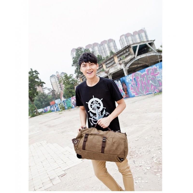 14868 - Дорожная сумка-рюкзак Dezerto Tubus XL: холщовая ткань, ручки-трансформеры, 47 л, объемный внешний карман