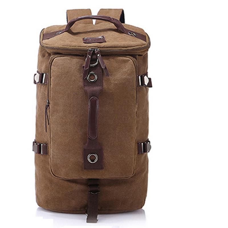 Дорожная сумка-рюкзак Dezerto Tubus XL: холщовая ткань, ручки-трансформеры, 47 л, объемный внешний карман - Хаки