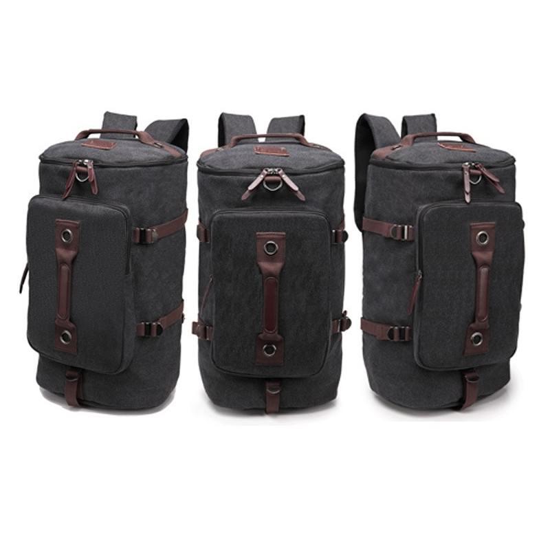 14871 - Дорожная сумка-рюкзак Dezerto Tubus XL: холщовая ткань, ручки-трансформеры, 47 л, объемный внешний карман