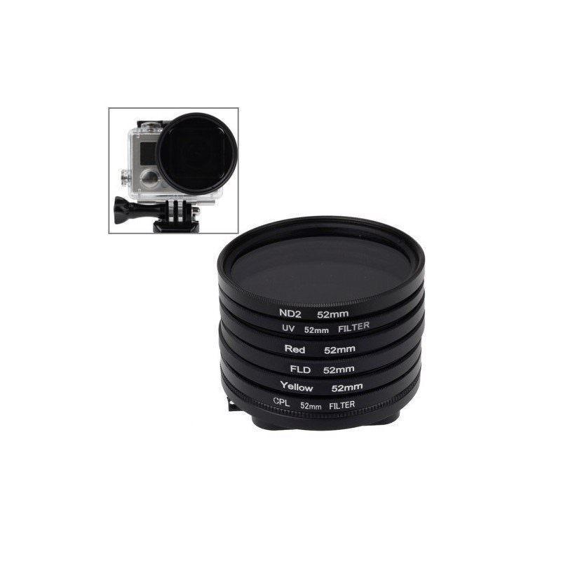 Набор фильтров 6-в-1 для камеры GoPro Hero 4 / 3 – УФ, красный, желтый, ND2, FLD, CPL и переходник