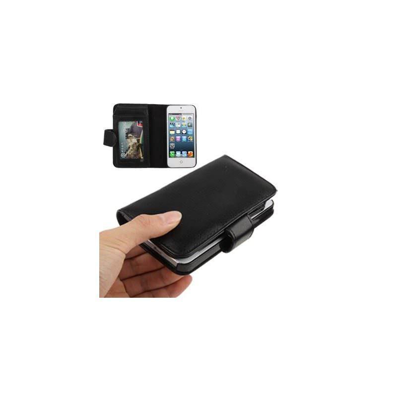 Кожаный чехол-бумажник G-3313B для iPhone 5 и 5S с отделениями для пластиковых карт (черный)