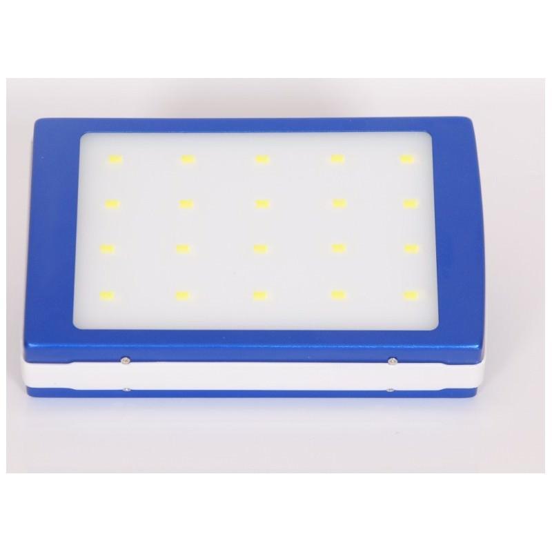 Солнечное зарядное SolarPowerBank 20 000: 6500 мАч + светодиодный фонарь 800 люмен - Синий
