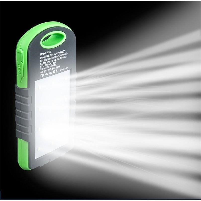 Солнечная зарядка Solar Power Bank + светодиодный фонарь: 8000 мАч, 2 разъёма USB, ударопрочный полиуретан 196336