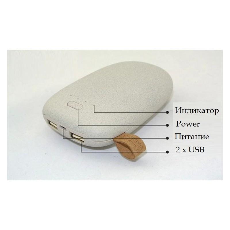 Стильный PowerBank M-Stone – 10400 мАч, 3 цвета, 2 х USB, индикатор заряда 196347
