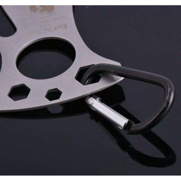 15954 - Походная ложка-вилка – универсальный полевой мультитул для кухни: открывалка, 3 вида шестигранного ключа, нержавеющая сталь