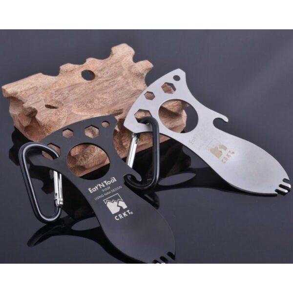 15956 - Походная ложка-вилка – универсальный полевой мультитул для кухни: открывалка, 3 вида шестигранного ключа, нержавеющая сталь