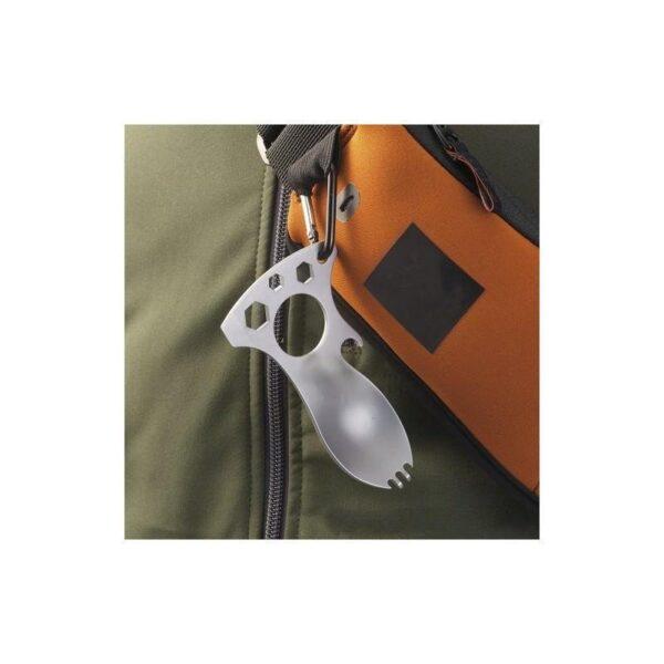 15962 - Походная ложка-вилка – универсальный полевой мультитул для кухни: открывалка, 3 вида шестигранного ключа, нержавеющая сталь