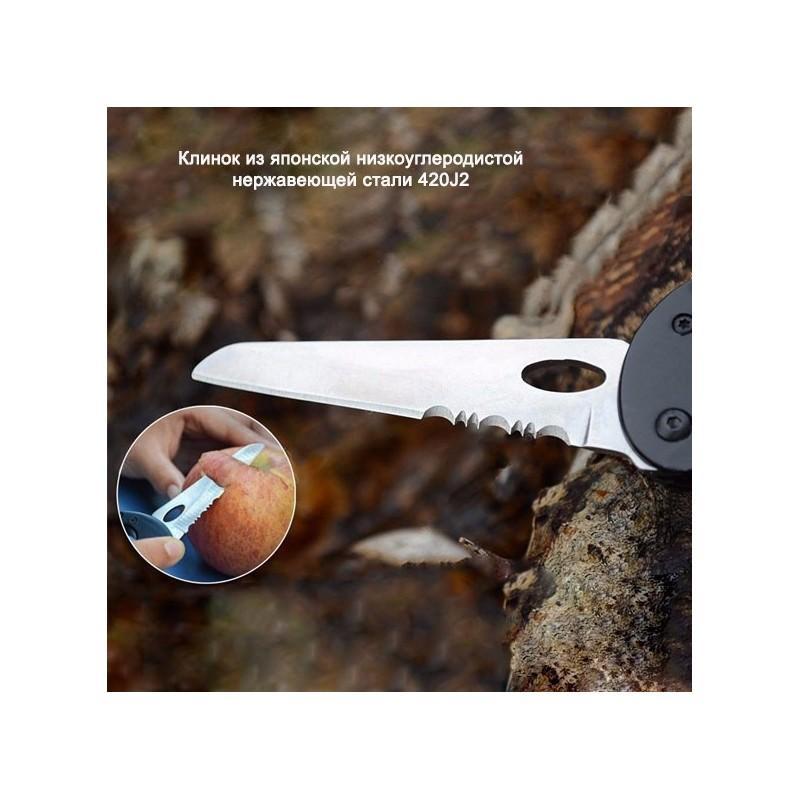 Складной мультитул для туризма, альпинизма, отдыха 5 в 1: нож, плоская отвертка, отвертка Phillips, открывалка, карабин 196380