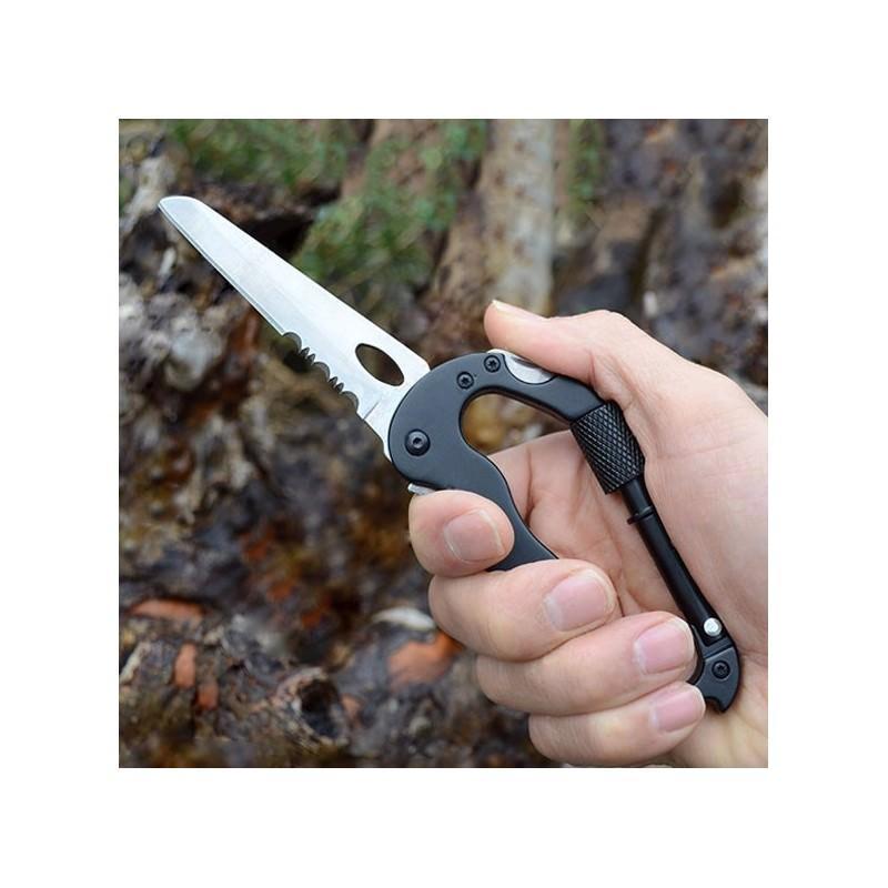 Складной мультитул для туризма, альпинизма, отдыха 5 в 1: нож, плоская отвертка, отвертка Phillips, открывалка, карабин 196387