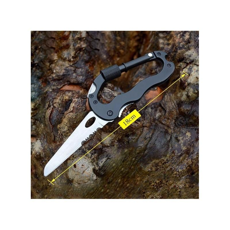 Складной мультитул для туризма, альпинизма, отдыха 5 в 1: нож, плоская отвертка, отвертка Phillips, открывалка, карабин 196388