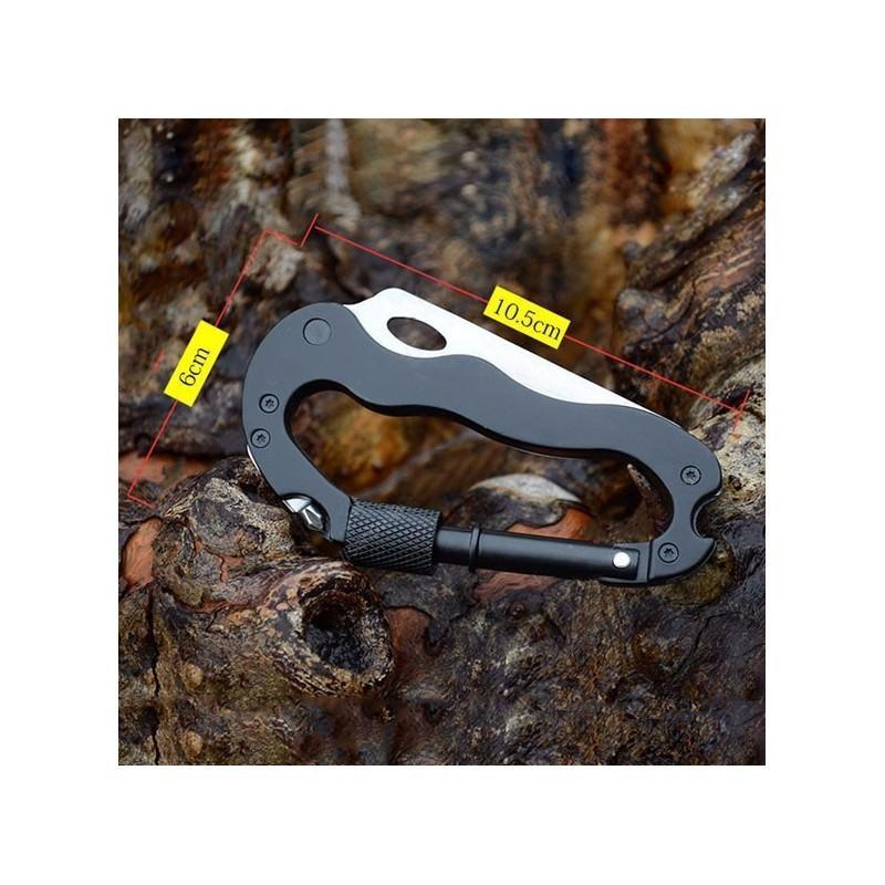 Складной мультитул для туризма, альпинизма, отдыха 5 в 1: нож, плоская отвертка, отвертка Phillips, открывалка, карабин 196389