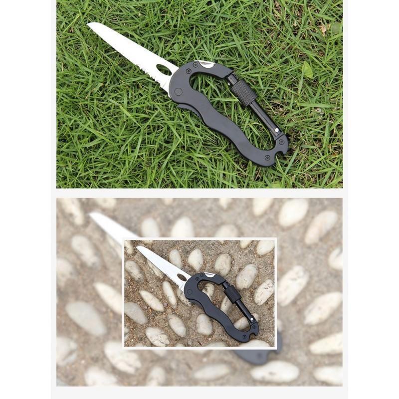Складной мультитул для туризма, альпинизма, отдыха 5 в 1: нож, плоская отвертка, отвертка Phillips, открывалка, карабин 196391