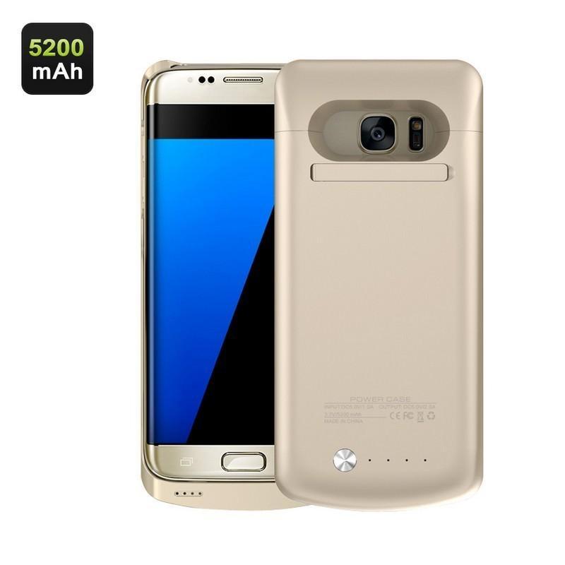 Чехол с батареей для Samsung S7 Edge – 5200 мАч, индикаторы заряда, флип-держатель