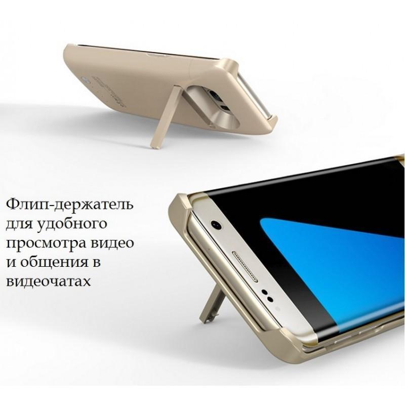 Чехол с батареей для Samsung S7 Edge – 5200 мАч, индикаторы заряда, флип-держатель 196443