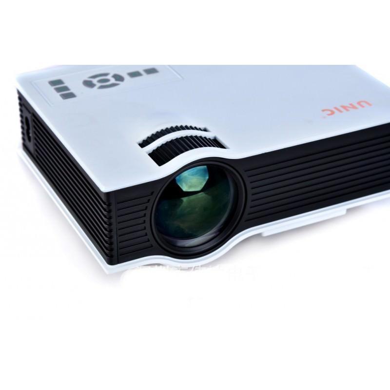 Портативный мини-проектор UNIC UC40+: 800 х 480, поддержка 1080Р, размер проекции 34-130 дюймов, пульт ДУ, VGA, HDMI, 2 USB