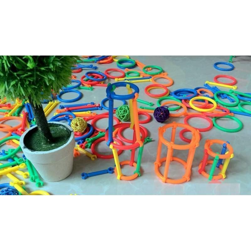 Детский развивающий конструктор Свой сад – 265 деталей, палочки, кольца 197272
