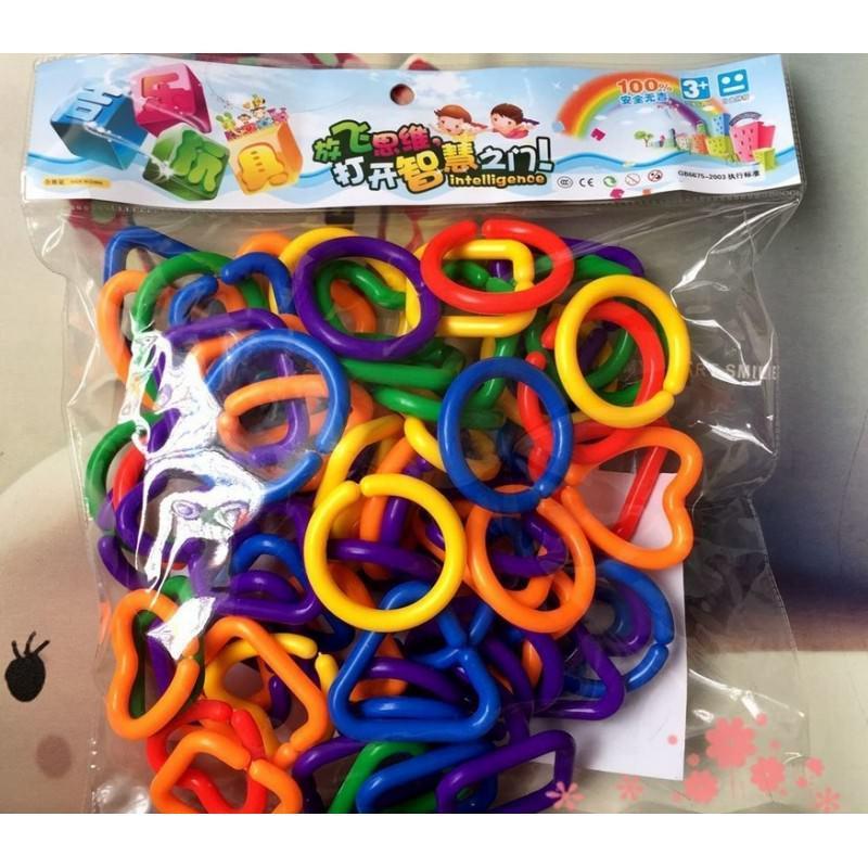 Развивающий конструктор Цепь + кольца-держатели для игрушек