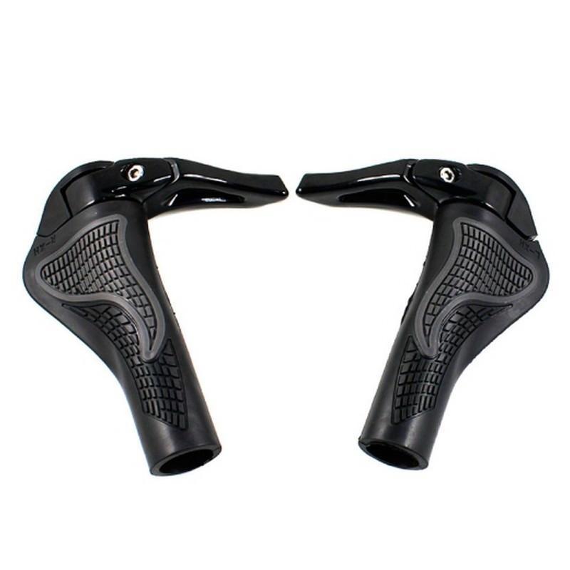 Грипсы-рога для MTB велосипеда – диаметр 22.2 мм, 3D дизайн, алюминий и резина 197444