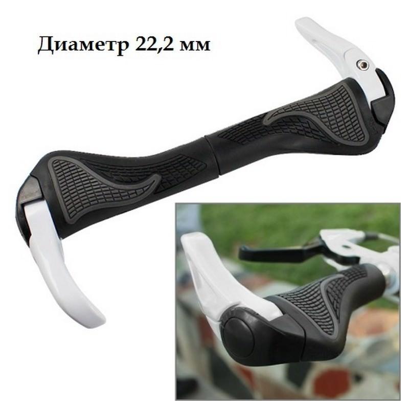 Грипсы-рога для MTB велосипеда – диаметр 22.2 мм, 3D дизайн, алюминий и резина 197447