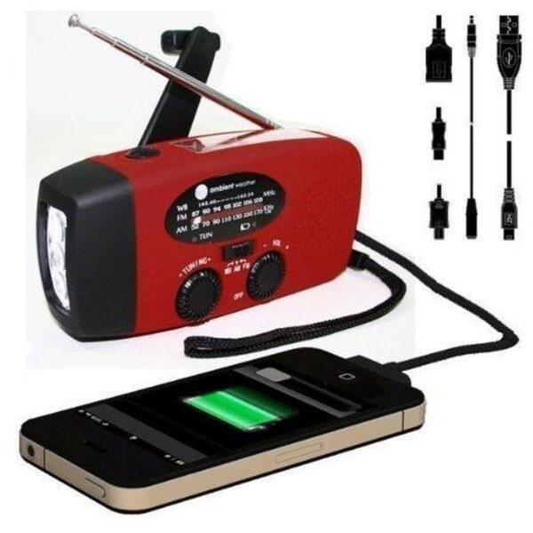 17362 - Радиоприемник WAY со встроенным фонарем, динамо-машиной, солнечной батареей и функцией Powerbank