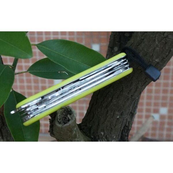 18195 - Многофункциональный нож для выживания - флуоресцентная рукоятка, 8 в 1, сталь 9C17
